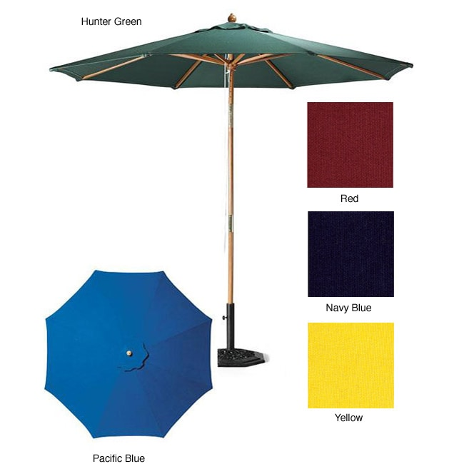 Lauren & Company Premium 9-Foot Round Patio Umbrella with Heavy-Duty Stand - Thumbnail 0