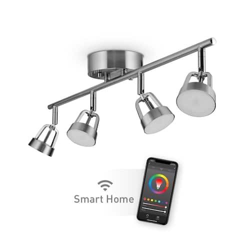 Wi-Fi Smart 4-Light Color Changing LED Integrated Track Lighting Kit