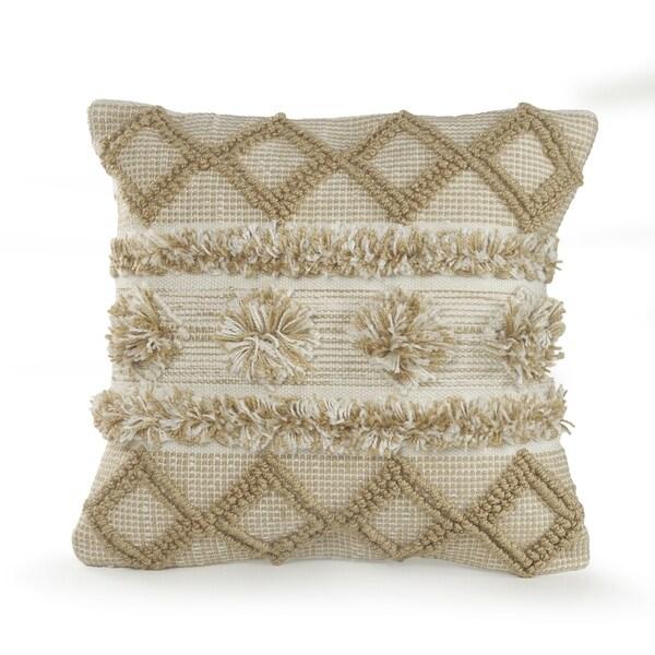 Neutral Soft Pom Pom Geometric Throw Pillow