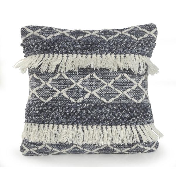 Navyand Ivory Textured with Fringe Throw Pillow