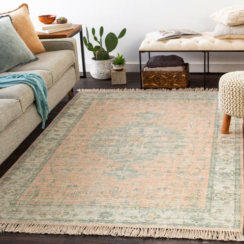 Elna Handmade Distressed Medallion Cotton Area Rug