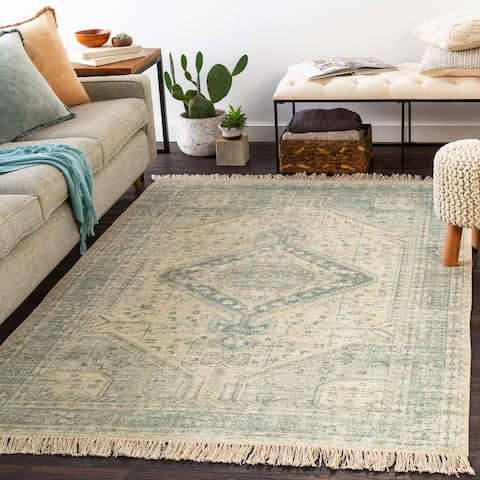 Evans Handmade Distressed Medallion Cotton Area Rug