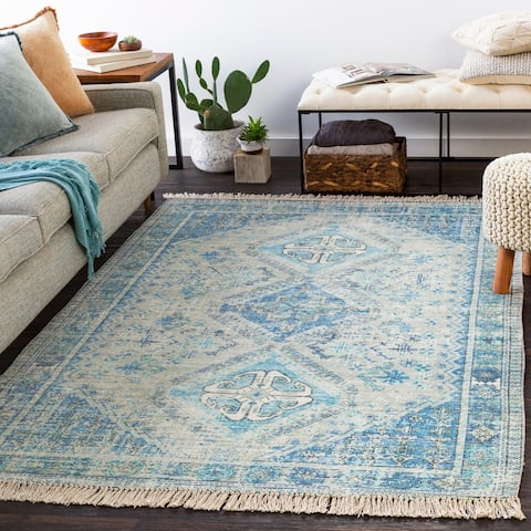 Hermione Handmade Triple Medallion Cotton Area Rug