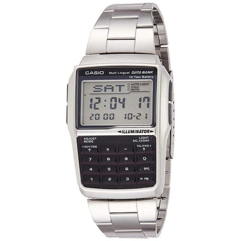 Casio DBC-32D-1ADF General Men's Watches Data Bank, Silver Stainless Steel Band, Rectangular 37mm Case