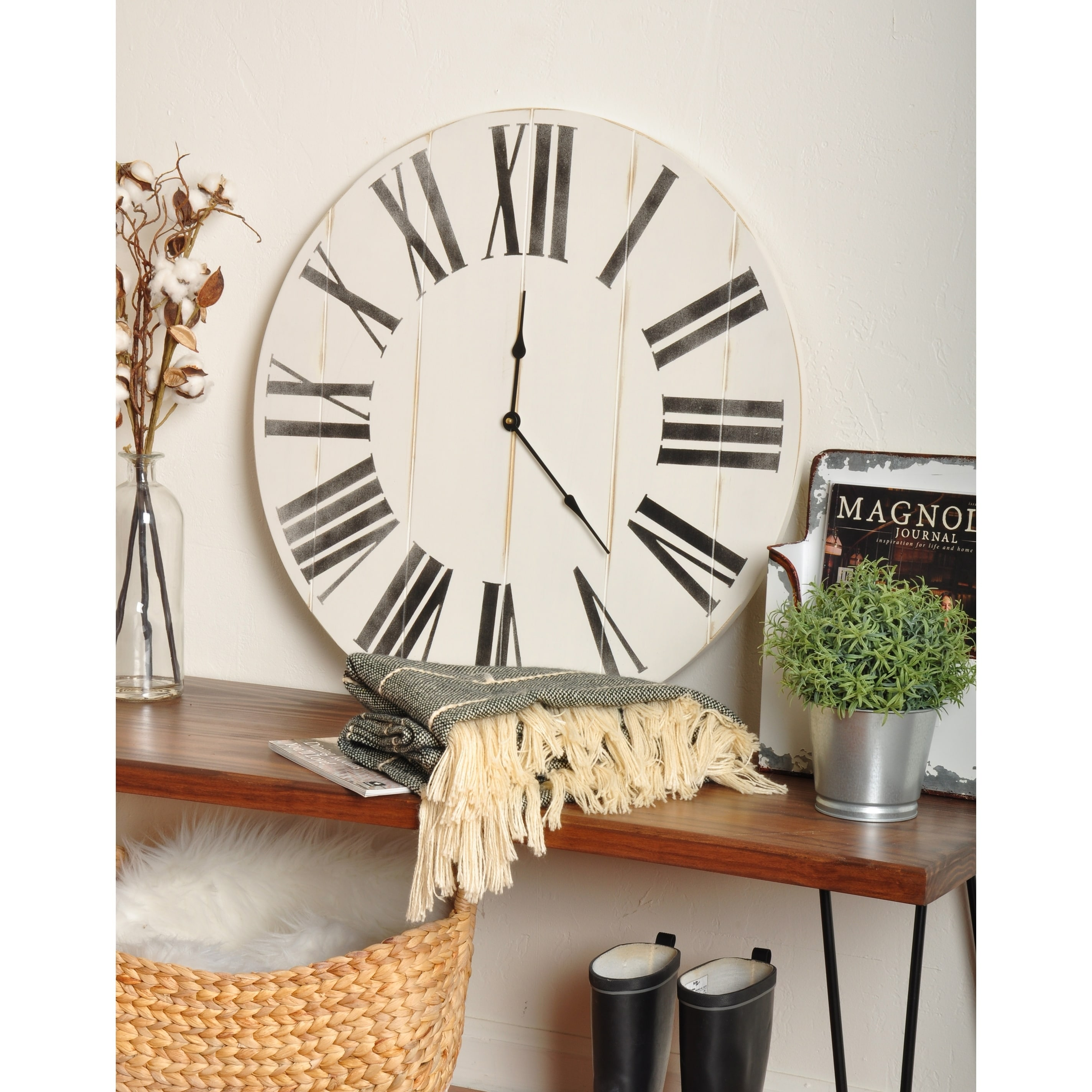 The Gray Barn Oversized Wooden Farmhouse Wall Clock On Sale Overstock 30539053