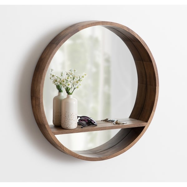 """Kate and Laurel Hutton Round Mirror with Shelf - Rustic Brown - 30"""" Diameter"""