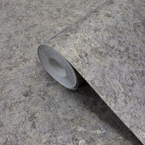 Wallpaper plain textured Wall coverings Modern Gray Gold Charcoal Metallic rolls