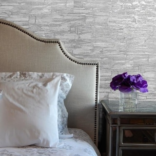 Modern Wallpaper Plain off white silver metallic embossed faux stone slab rolls
