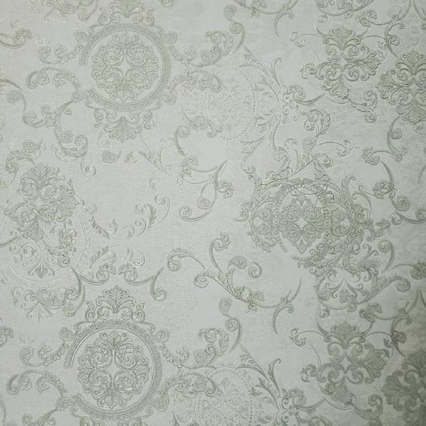 Shop Embossed Wallpaper Silver Green Metallic Greek Key Textured