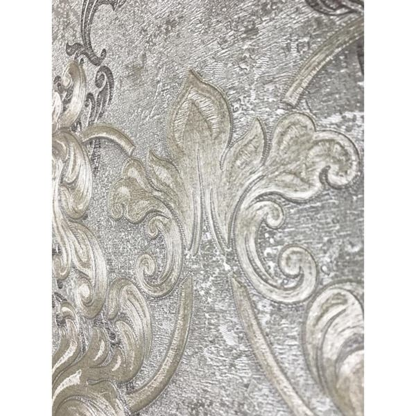 Wallpaper Cream Pastel Gray Metallic Textured Victorian Damask Diamonds 3d Rolls
