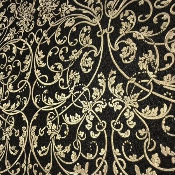 Textured Floral Wallpaper Black /& Metallic Gold