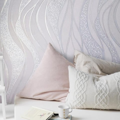 Textured Wave lines pink rose Gold Metallic Wallpaper modern wall coverings roll
