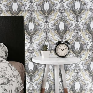Link to Ivory White Gray Gold Silver Metallic textured Wallpaper Victorian Damask rolls Similar Items in Wall Coverings