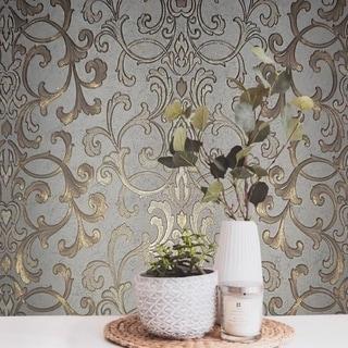Wallpaper textured wallcoverings modern damask gray gold bronze metallic roll 3D