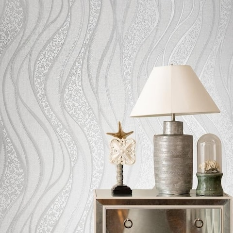 Modern textured Wave lines silver gray off white cream Metallic Wallpaper damask