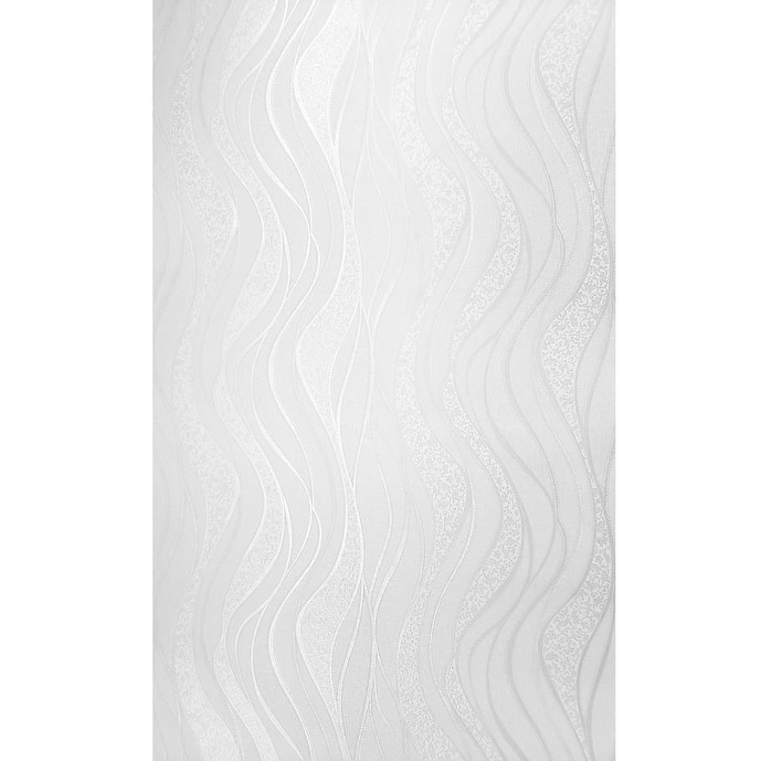 Shop Modern Textured Wave Lines Silver Gray Off White Cream Metallic Wallpaper Damask Overstock 30539742