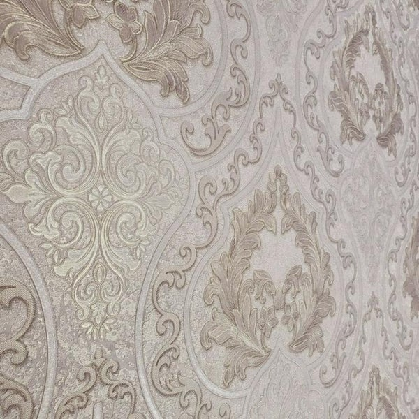 Vintage Victorian Textured damask pattern ivory gold metallic Wallpaper rolls 3D
