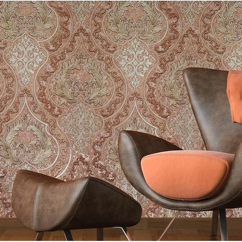 Wallpaper Victorian Damask orange red gold bronze Metallic textured embossed 3D