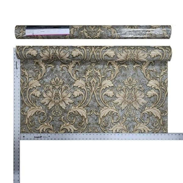 Wallpaper Victorian Damask Charcoal Grey Beige Bronze Metallic Textured Embossed
