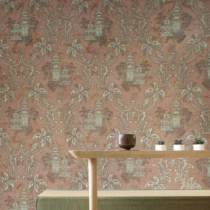 Traditional Scenic Silver Toile Red Dark Brown White Modern Asian Wallpaper