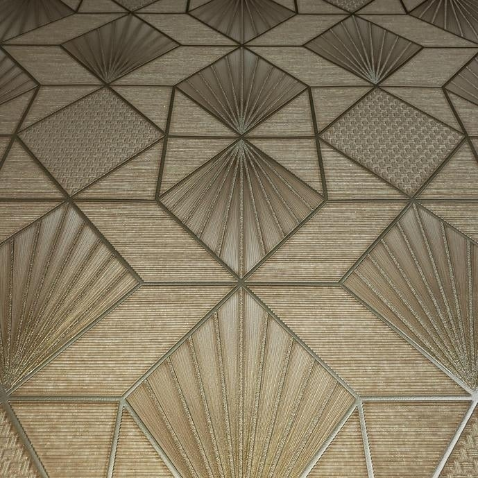 Modern Wallpaper brown Brass metallic textured geometric diamond triangle lines