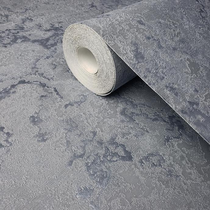 Shop Wallpaper Silver Blue Metallic Textured Modern Plain Faux