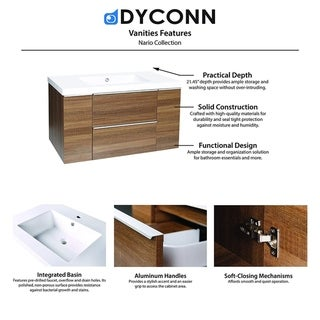 Nario Bathroom Vanity with Resin Countertop Basin in Brown