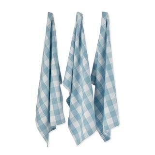 """DII Buffalo Check Kitchen Textiles, 20x30"""", White & Light Blue, 3 Pc"""