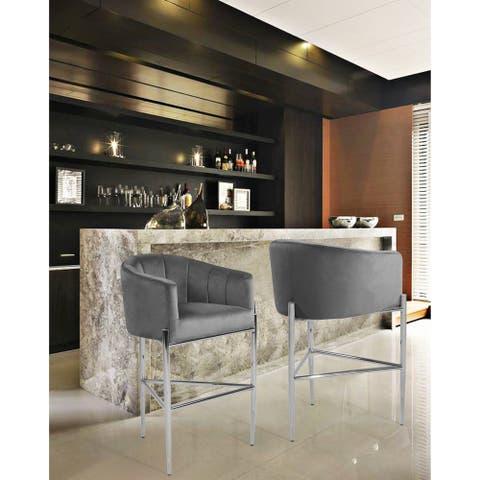 Silver Orchid Unkel Velvet Upholstered Chrome Base Bar/Counter Stool - N/A