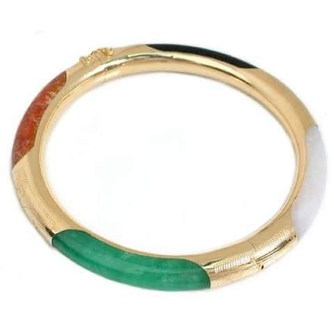 Pearl Lustre Multi Color Jade Bracelet with Safety Chain