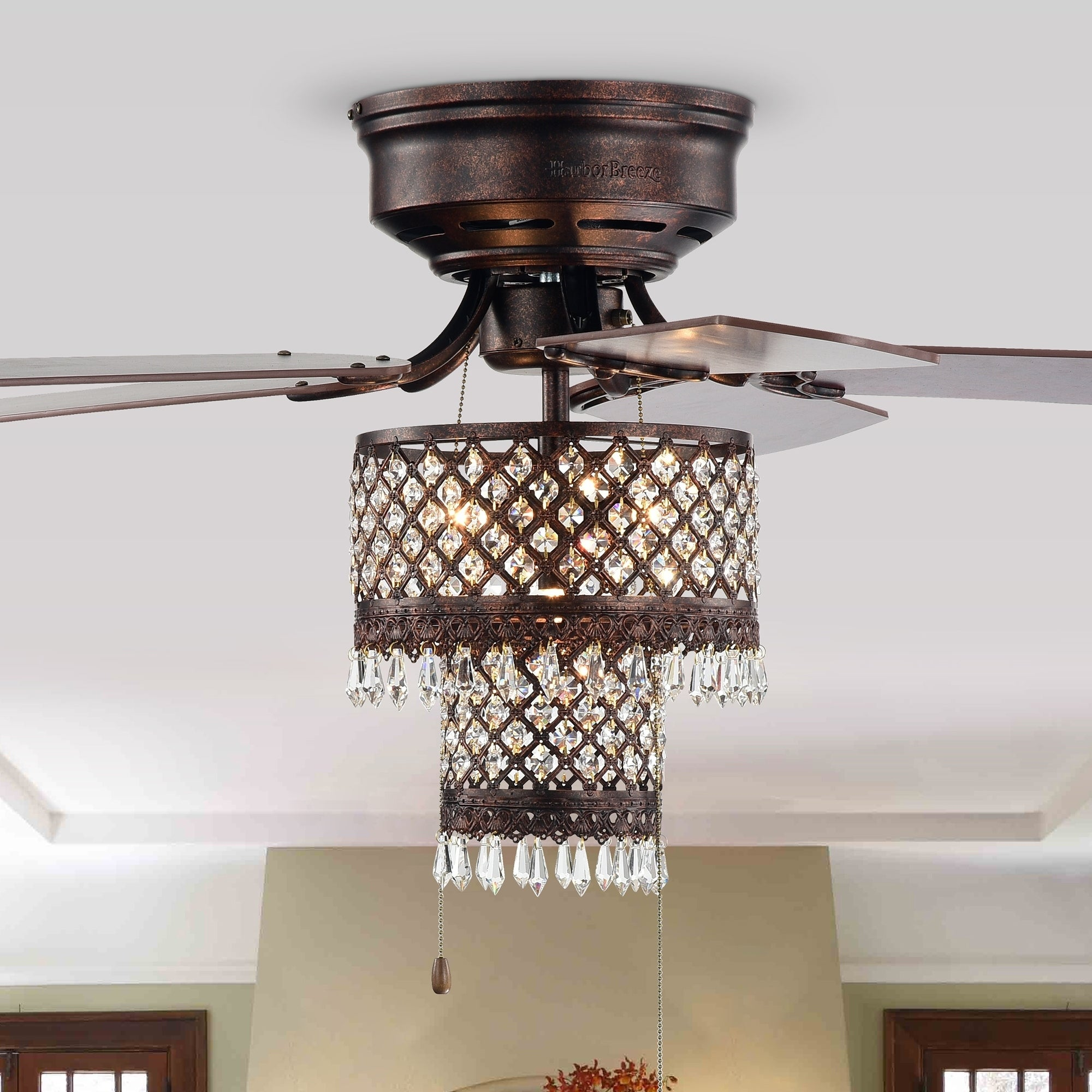 Image of: Shop Black Friday Deals On Gracewood Hollow Huo 52 Inch Rustic Bronze Lighted Flush Mount Ceiling Fan With Crystal Drum Shade Overstock 30541548