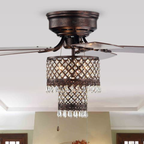Gracewood Hollow Huo 52-inch Rustic Bronze Lighted Flush Mount Ceiling Fan with Crystal Drum Shade