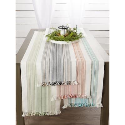 Porch & Den Meryl Stripe Pattern Fringed Table Runner