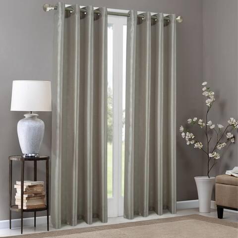 Carolina Metallic Geometric Faux Silk Grommet Single Curtain Panel - (1x) 54 x 90 in.