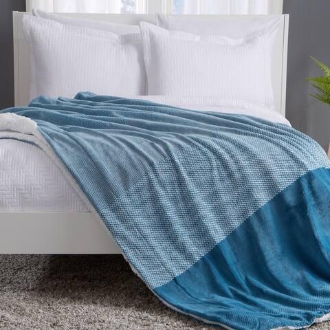 Allura Collection Patterned Reversible Sherpa Fleece Blanket
