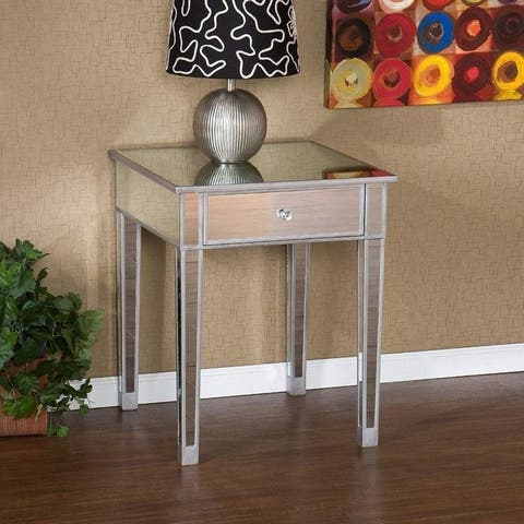 """25"""" Modern Mirrored Nightstand Bedside Table with 1 Drawer"""