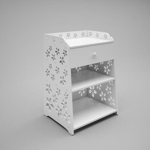 Exquisite Cherry Blossom Pattern PVC Bedside Table with Drawer White