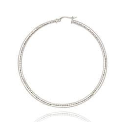 Mondevio Sterling Silver 60 mm Diamond-cut Hoop Earrings - Thumbnail 1
