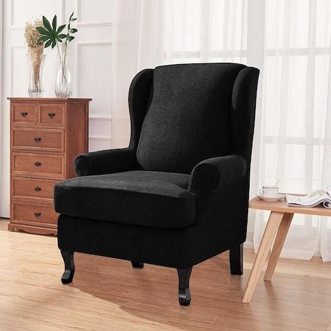 Enova Home Elegant Super Stretch Jacquard Spandex Fabric T-Cushion Wingback Slipcover Wing Chair Slipcover - N/A