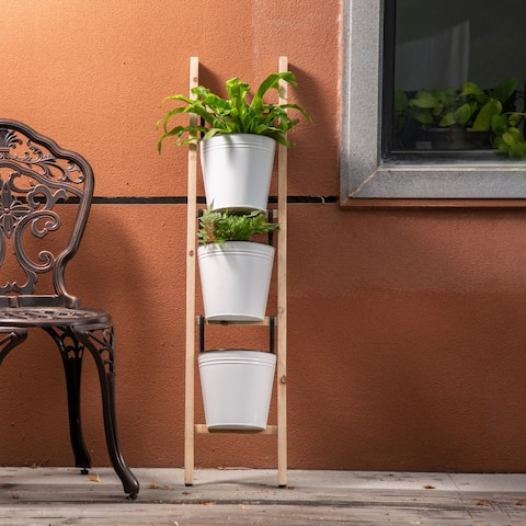 """Glitzhome 42""""H Enameled Metal/Wooden 3-Tier Leaning Ladder Planter Stand"""