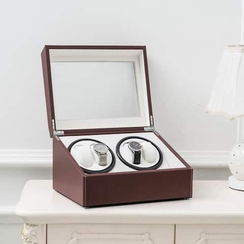 Electric Leather Watch Winder Storage Auto Display Case Box 4 6 Automatic Rotation