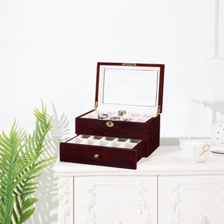 20/24 Slots Wooden Case  Watch Display Case Glass Top Jewelry Storage Organizer Gifts