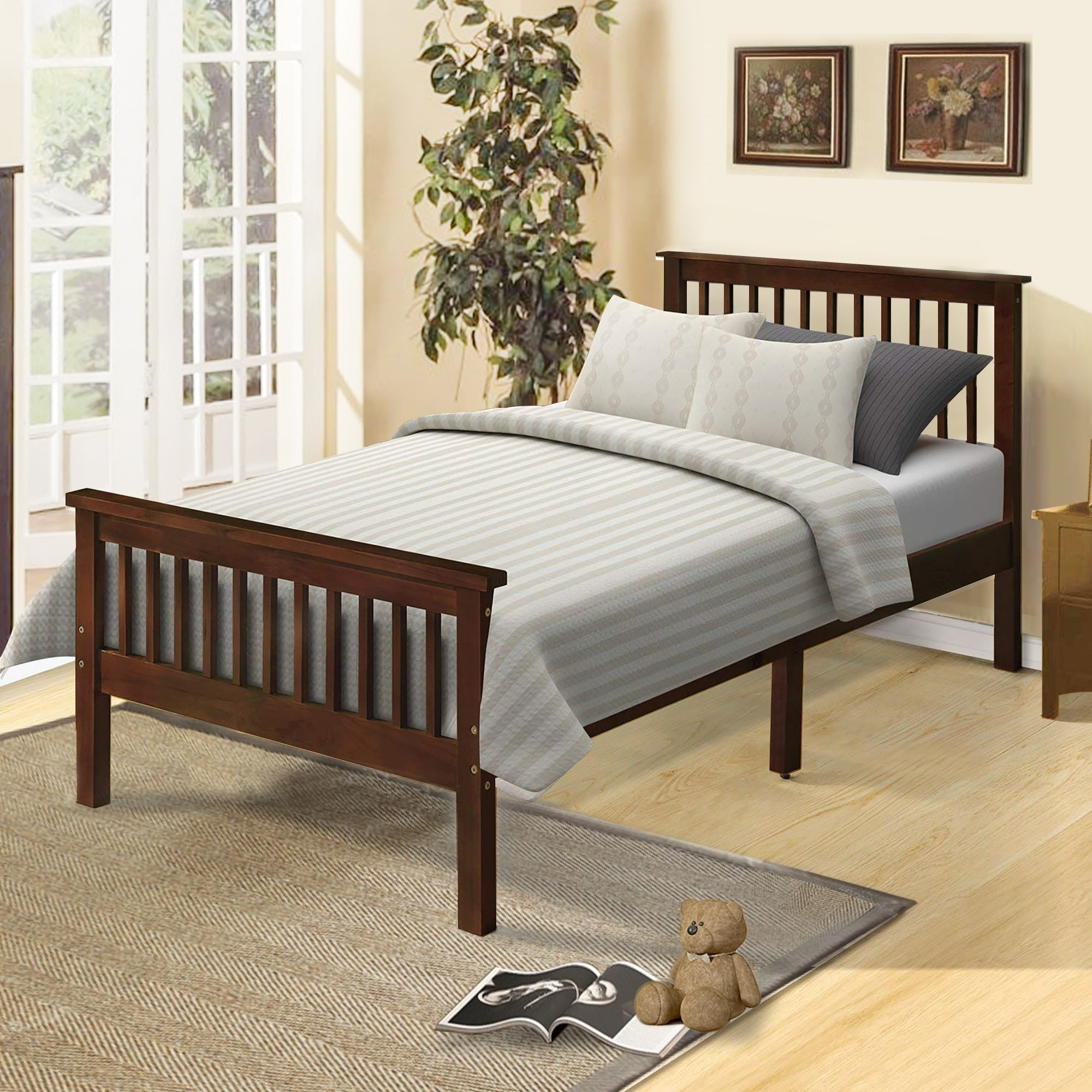 Picture of: Shop Black Friday Deals On Wood Platform Bed Twin Bed With Headboard And Footboard Overstock 30546309