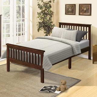Wood Platform Bed Twin Bed with Headboard and Footboard
