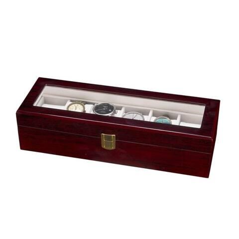 6 Slots Wooden Case Watch Display Case Glass Top Jewelry Storage Organizer Gifts