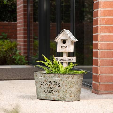 "Glitzhome 24.5""H Farmhouse Galvanized Metal Planter with Birdhouse Decor"