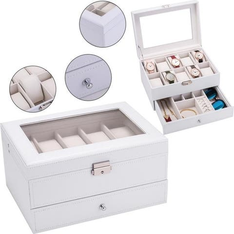 10 Slots 2 Layer Watch Box Organizer Lockable Jewelry Display Case with Glass Top Faux Leather