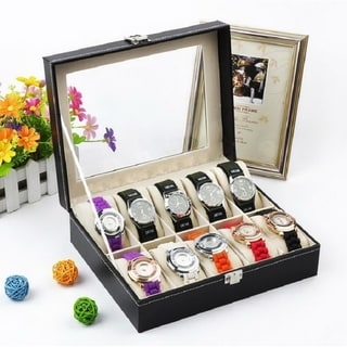 6/10/12/20/24 Compartments Leather Watch Collection Storage Box Black