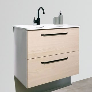 "24"" Maine Modern Bathroom Vanity Cabinet Set, American White Wood Looking Finish 