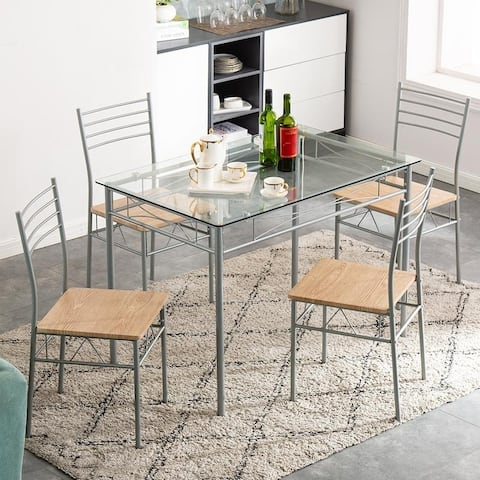 5 pcs Iron Glass Dining Set with One Table and Four Chairs